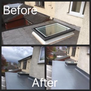 GRP Fibre Glass Flat Roof with a New Roof Light Installed